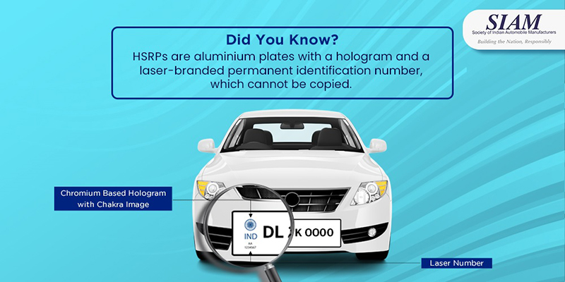 HSRPs are aluminium plates with a hologram and a laser-branded permanent identification number, which cannot be copied.