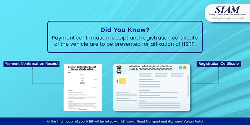 Payment confirmation receipt and registration certificate of the vehicle are to be presented for affixation of HSRP.